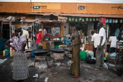 Photo: Food stands in Kampala, Uganda, Africa.