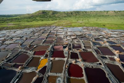 Photo: Saltworks in a crater lake in the Lake Edward region of the Albertine Rift.