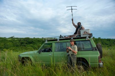 Photo: Dr. Ludwig Siefert and senior research assistant James Kalyewa use a wide range of monitoring techniques to track the movement of large predators in Uganda.