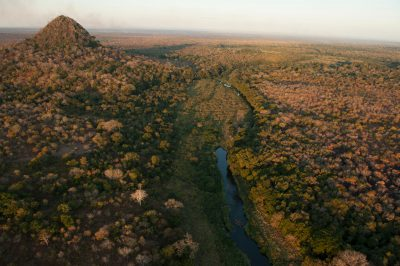 Photo: Aerials of the Vunduzi River watershed inside the main Gorongosa National Park in Mozambique, Africa.