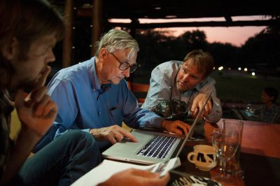 Photo: Dr. E. O. Wilson, Steve Carr and others plan the bioblitz in Mozambique, Africa.