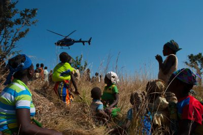Photo: A helicopter takes off from a 'blessing ceremony' in the Mt. Gorongosa range of Mozambique, Africa.
