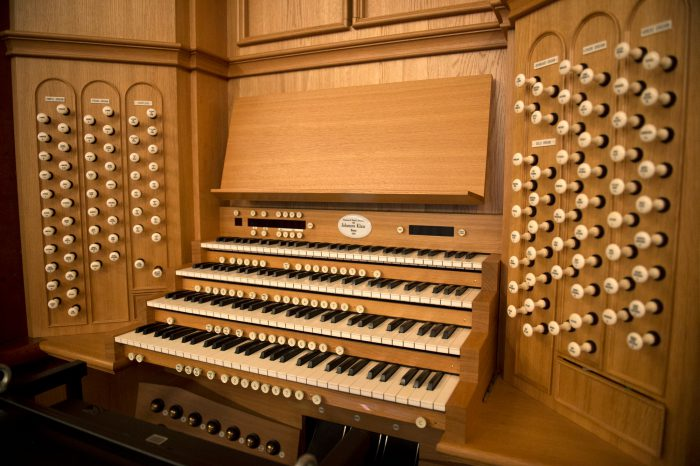 Photo: The massive pipe organ at the Town Hall in Auckland, New Zealand.