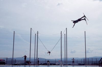 Photo: Ski jumpers practice for the olympics at Water Sports Park in Park City, Utah.