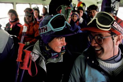 Photo: Skiers in a bus on the way to the slopes in Sun Valley, Idaho.