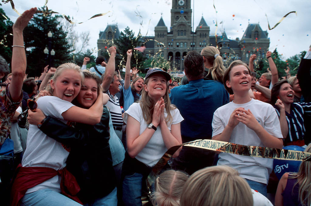 Photo: Salt Lake City residents react to the Winter Olympics announcement.