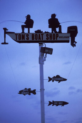Photo: Sign outside a boat shop in the Pacific Northwest.