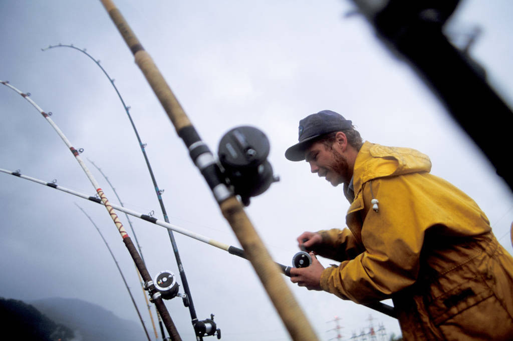 Photo: Fishing for sturgeon on the Columbia River below the Bonneville Dam.