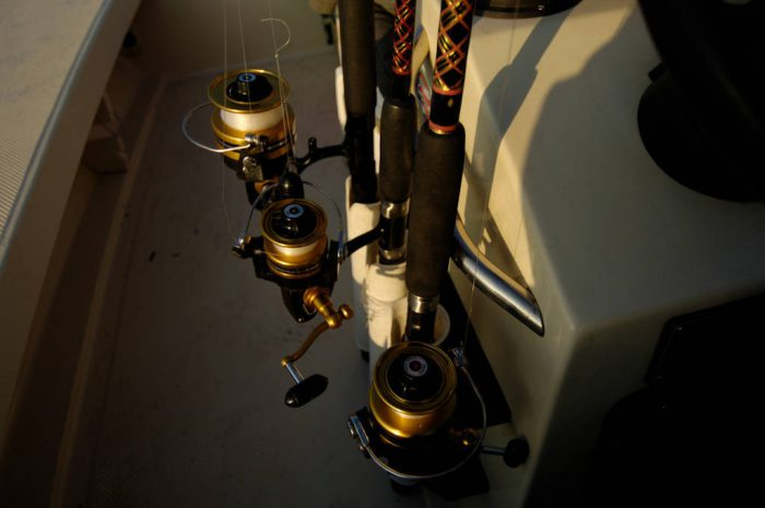 Photo: Gear inside a fishing boat in the 10,000 Islands area of Everglades National Park, Florida near Naples.