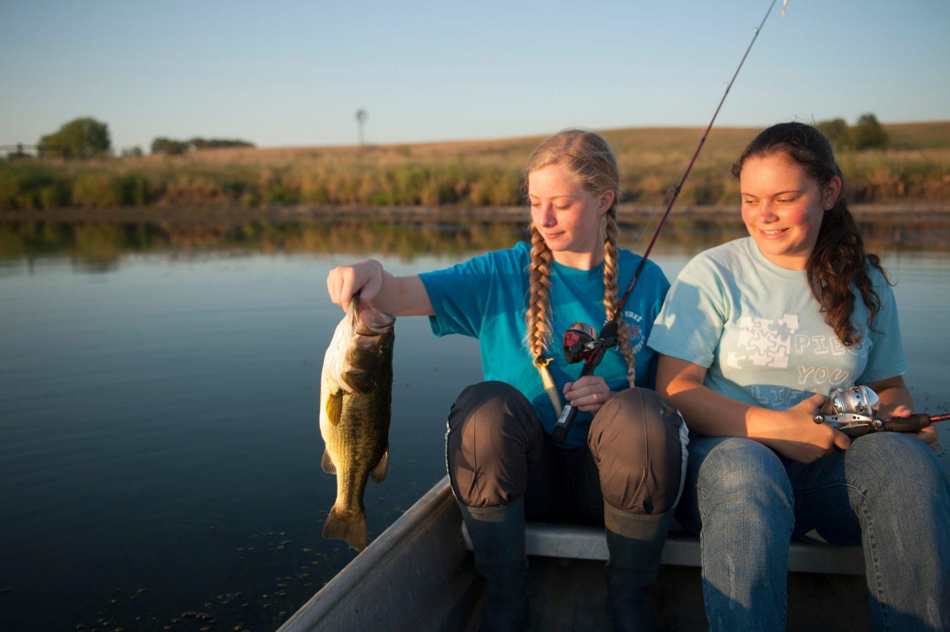 Photo: Cousins fishing on a pond near Valparaiso, NE.