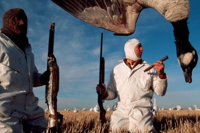 Photo: Hunters at the edge of J. Clark Salyer NWR in North Dakota use decoys and calls to attract snow geese.