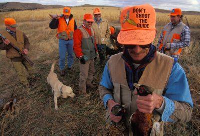 Photo: Hunters participate in an organized pheasant hunt in Broken Bow, Nebraska.