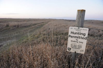 Photo: Hunting permission sign at CRP ground near Loma, Nebraska.