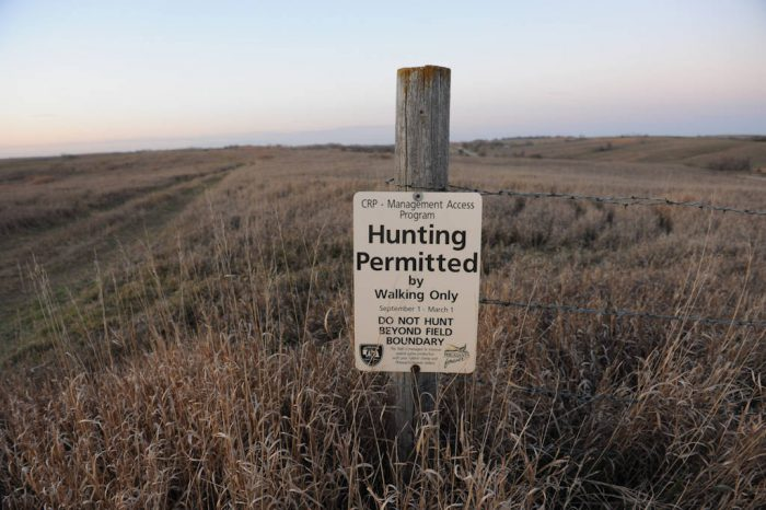 Photo: Hunting permission sign at CRP ground near Loma, Nebraska.