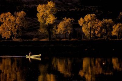 Photo: A sightseer canoes through the Upper Missouri River Breaks National Monument in the Charles M. Russell NWR in Montana.