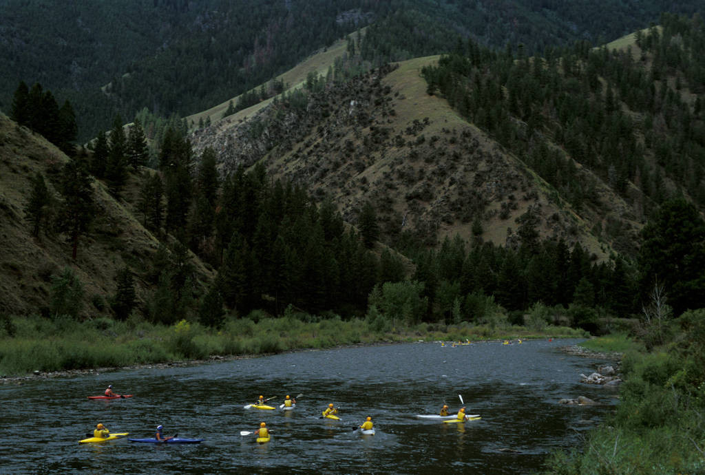 Photo: Kayakers in the Salmon River in Idaho.