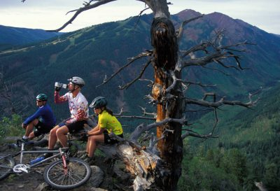 Photo: Mountain bikers stop for a quick rest on the trails in Aspen, Colorado.