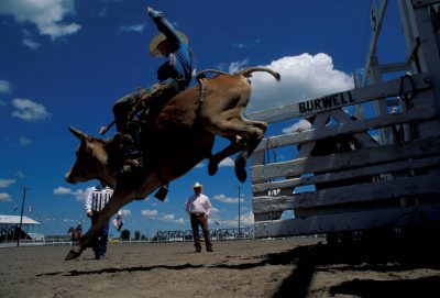 Photo: Bull riding at Nebraska's Big Rodeo in Burwell.