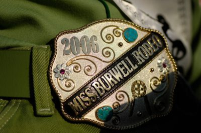 Photo: A rodeo queen's belt buckle at Nebraska's Big Rodeo in Burwell.