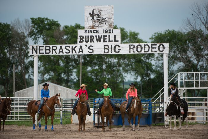 Photo: Rodeo queens on horses stand at the rodeo entrance gates.
