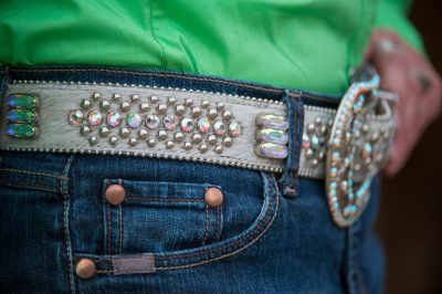 Photo: A detail shot of a rodeo queen's belt.
