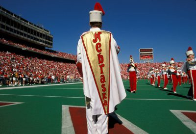 Photo: The University of Nebraska-Lincoln Cornhusker marching band entertains fans at halftime in Memorial Stadium.