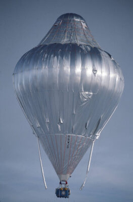 Photo: Scene from millionaire Steve Fossett's 1996 attempt at a round-the-world hot air balloon trip.