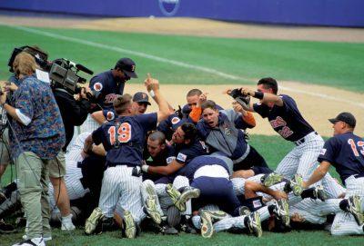 Photo: Victory celebration at the College World Series at Rosenblatt Stadium in Omaha, Nebraska.