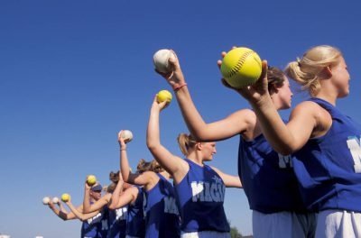 Photo: A softball team warms up for a game in Lincoln, Nebraska.
