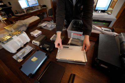 Photo: External drives that store digital images at Joel Sartore Photography