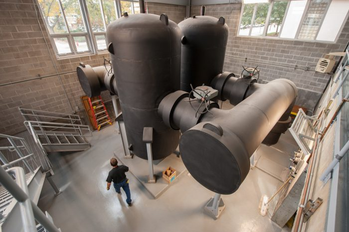 Photo: A Spirotherm, a device used to filter the water in the system, at a utlities plant, Lincoln, Nebraska.
