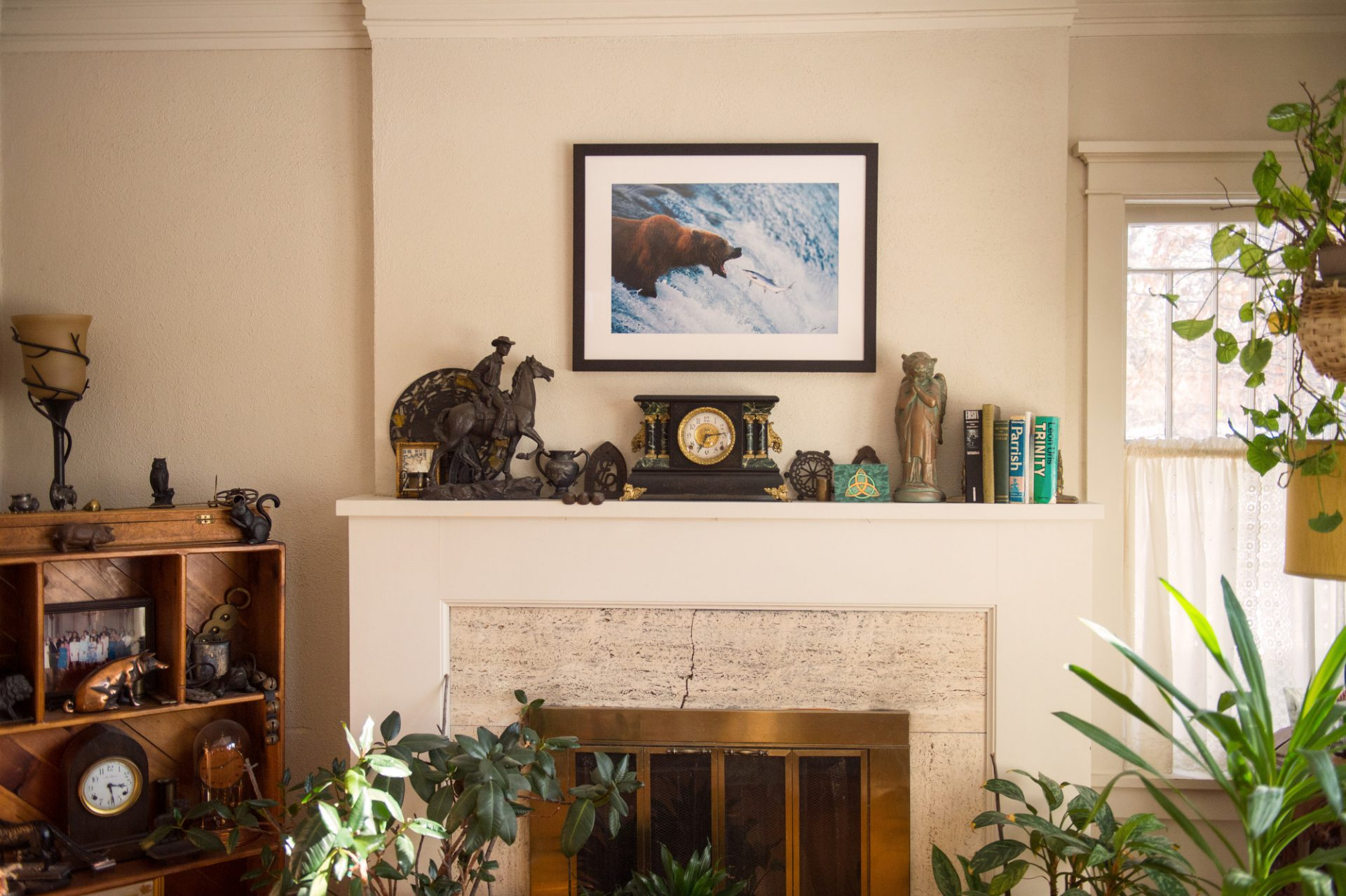 Photo: A framed and matted print of a grizzly bear.