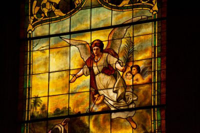 Photo: A stained glass window in a church in Lincoln, Nebraska.