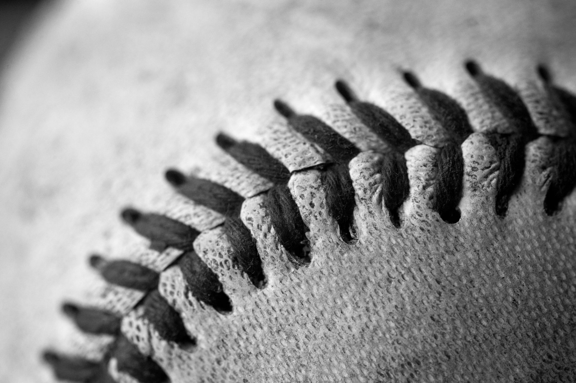 Photo: Detail shot of a baseball.