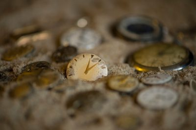 Photo: 'Sands of time' still life created with clocks and sand.
