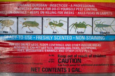 Photo: A label for pesticides explains usage.