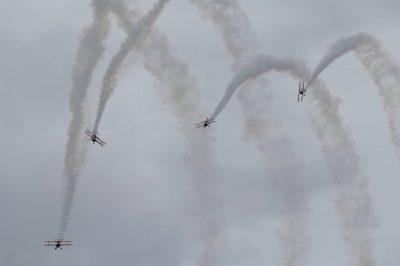 Photo: World War II fighter aircrafts perform a reenactment of an air battle at an airshow in Lincoln, Nebraska