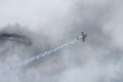 Photo: World War II fighter aircrafts perform a reenactment of an air battle at an airshow in Lincoln, Nebraska