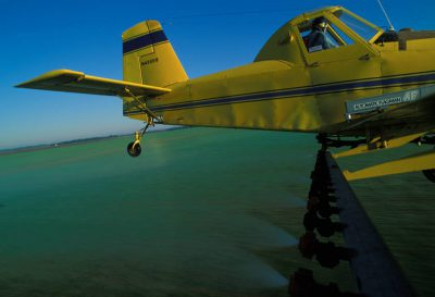 Photo: A cropduster plane flies over a field.