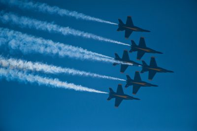 Photo: The Navy's Blue Angels take part in an air show in Lincoln, Nebraska.