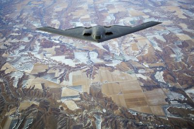 "Photo: A B-2 ""Stealth Bomber"" flies over southwestern Nebraska."
