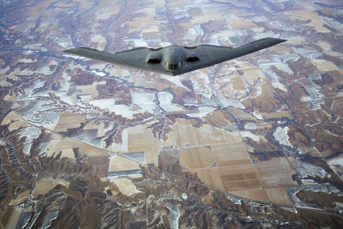 "Photo: A B-2 ""Stealth Bomber"" flies over southwestern Nebraska."