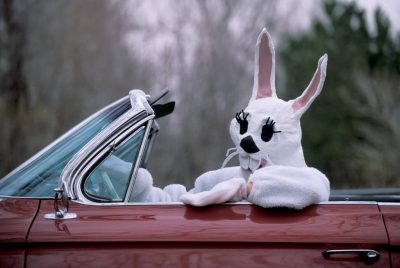 Photo: The Easter Bunny in a 1961 Cadillac convertible.