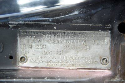 Photo: A close up of the body identification plate on a 1961 Cadillac convertible in Lincoln, Nebraska.