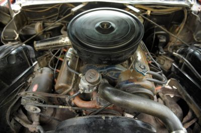 Photo: A close up of the engine of a 1961 Cadillac convertible in Lincoln, Nebraska.