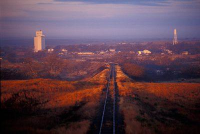 Photo: Tracks leading into Darrouzett, Texas.