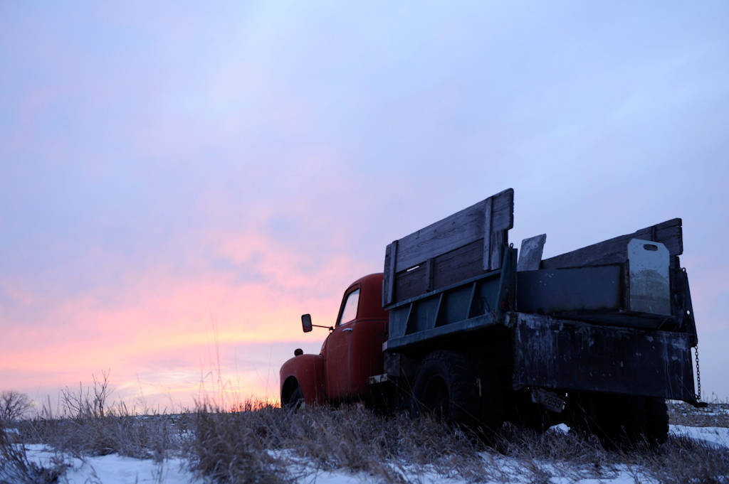 Photo: An old farm truck at sunset on the DeVries farm near Cortland, NE.