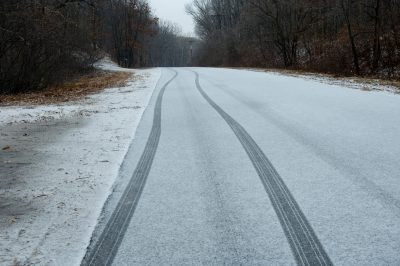 Photo: A snow covered road at the Wild Canid Survival and Research Center.