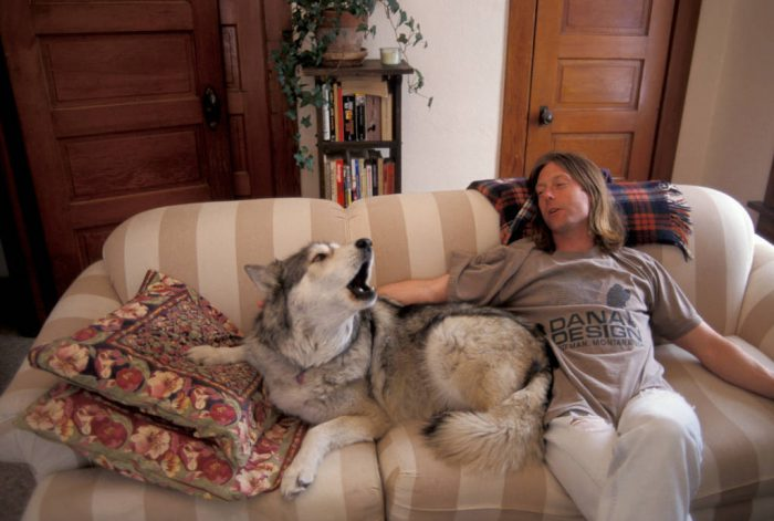 Photo: Shannon Prendergast of Bozeman, MT with his wolf-dog, Nuska.